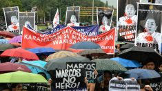 Manifestación en Manila contra el entierro del ex presidente Marcos en un cementerio para héroes (Foto: AFP).