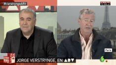 Jorge Verstrynge en su intervención en el programa Al Rojo Vivo junto a su presentador Antonio García Ferreras.
