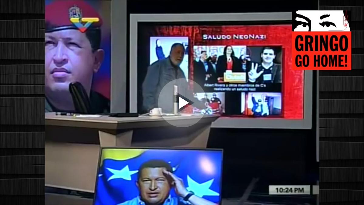 La estrella de la TV pública de Venezuela Mario Silva, durante el programa que dedicó a Albert Rivera.