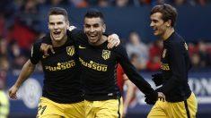 Correa y Griezmann celebran el segundo gol del Atlético obra de Gameiro