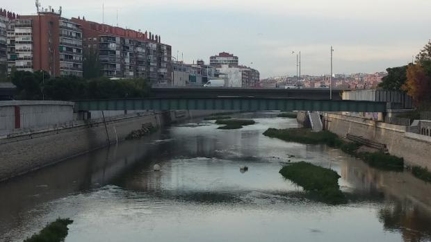 Aspecto actual de la presa en Madrid Río.