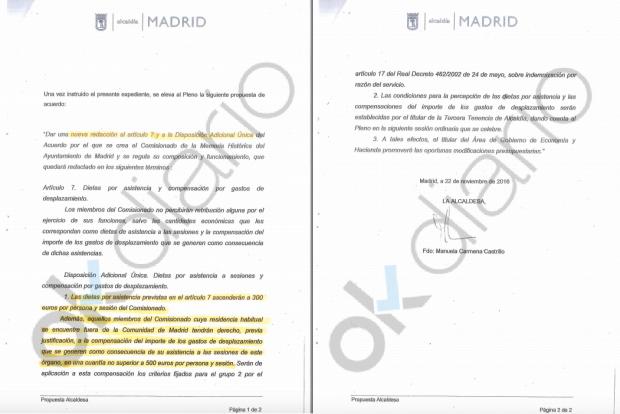 Propuesta de la alcaldesa Manuela Carmena. (Clic para ampliar)