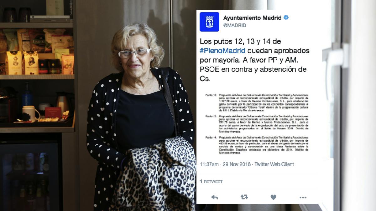 Tuit borrado del perfil oficial de Twitter del Ayuntamiento. (Foto: Madrid)