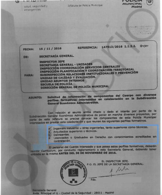 Nota interna de la Dirección de policía al cuerpo. (Clic para ampliar)