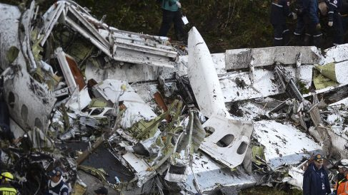 Avión siniestrado en el que volaba el Chapecoense. (Foto: AFP)