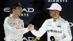 Hamilton y Rosberg, en el podio de Abu Dhabi. (Getty)