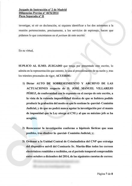Escrito del comisario José Villarejo.