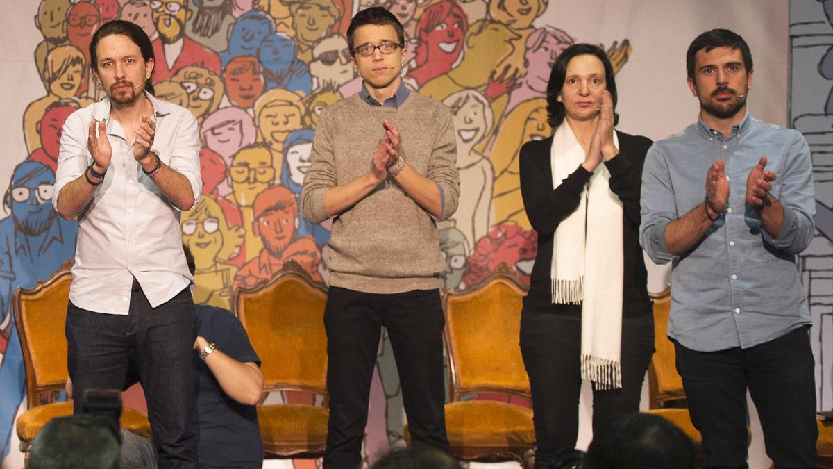 Pablo Iglesias, Íñigo Errejón, Carolina Bescansa y Ramón Espinar. (Foto: AFP)