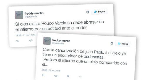 Tuits publicados por Freddy Martín Quintas, el dirigente podemita que lleva cuatro meses dando la vuelta al mundo.