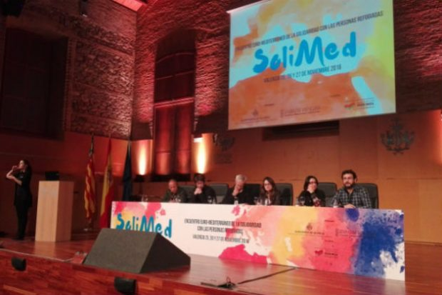 """Inauguración de """"Solimed"""" con Mónica Oltra, Joan Ribó, Miguel Urbán y las tres banderas."""