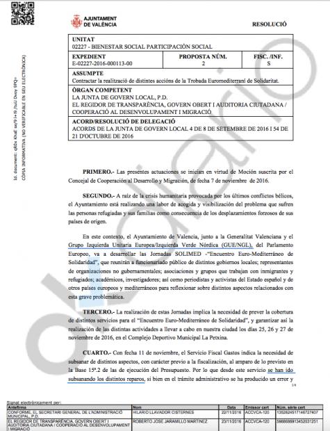 Primera página del primero de los expedientes del Ayuntamiento valenciano para el evento de Izquierda Unitaria Europea. (clic para ampliar)