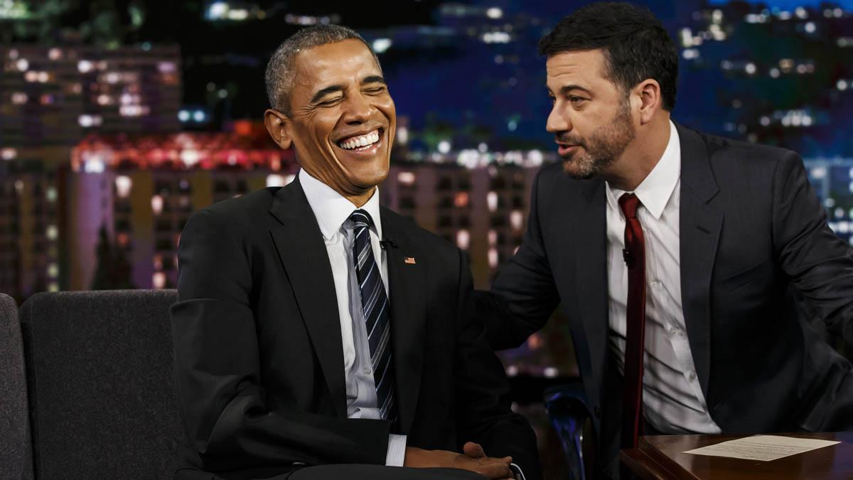 Jimmy Kimmel recibió recientemente a Barack Obama en su programa (Foto: AFP)