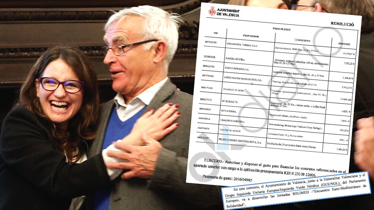 El alcalde de Valencia Joan Ribó junto a la vicepresidenta de la Generalitat, Mónica Oltra, ambos de Compromís. (Foto: EFE)