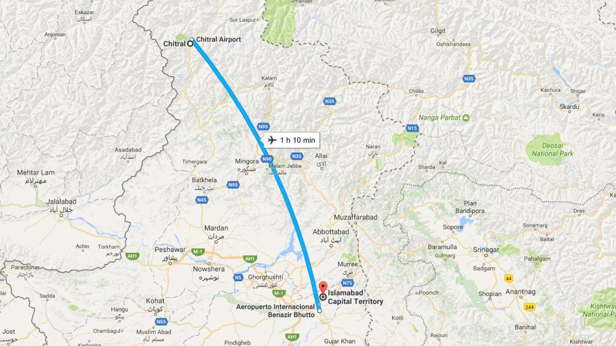 El avión siniestrado despegó de Chitral (Pakistán) y se dirigía a Islamabad, la capital del país. Foto: GMAPS