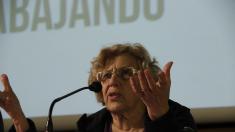 La alcaldesa Manuela Carmena en un acto púbico en marzo. (Foto: AM)
