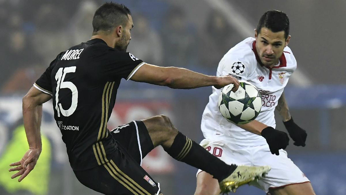 El Sevilla empató en Lyon y estará en octavos. (AFP)