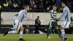 Guidetti celebra su gol ante Panathinaikos. (AFP)