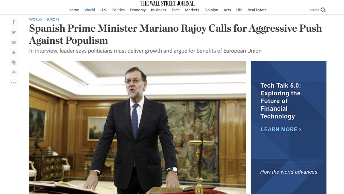 Mariano Rajoy en 'The Wall Street Journal'