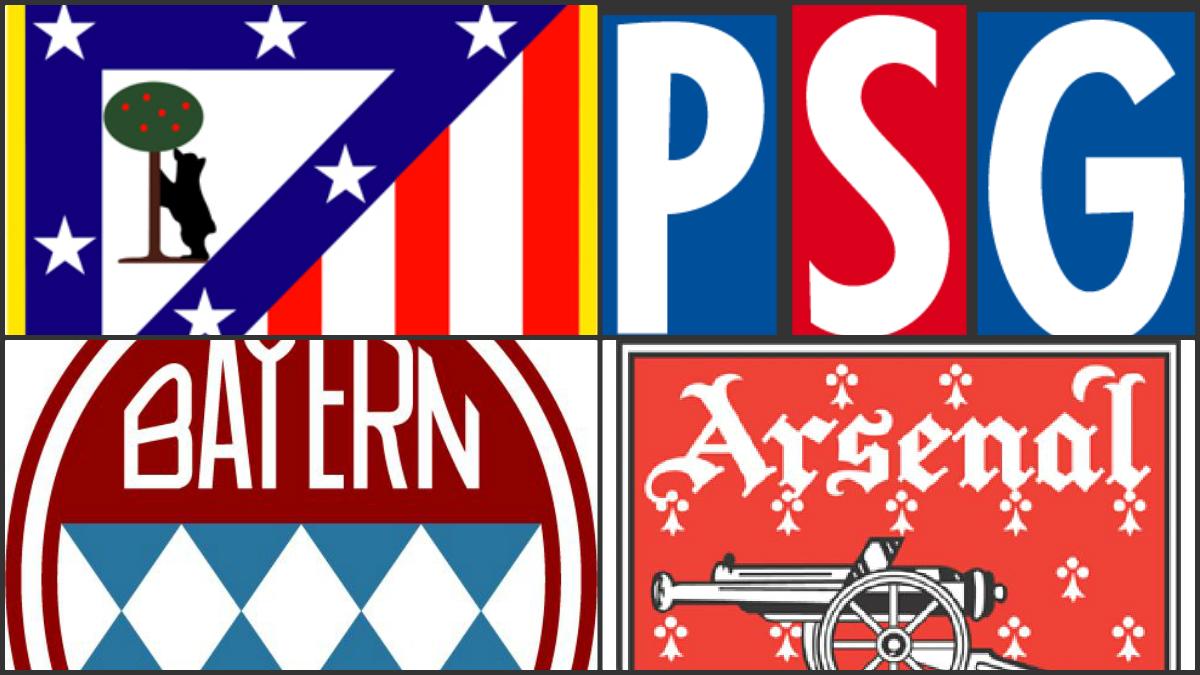 Cambios en los escudos del Atlético, PSG, Bayern y Arsenal