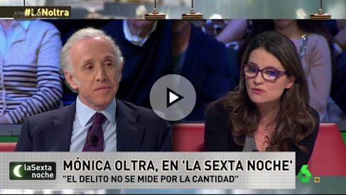 Eduardo Inda y Mónica Oltra en La Sexta Noche.