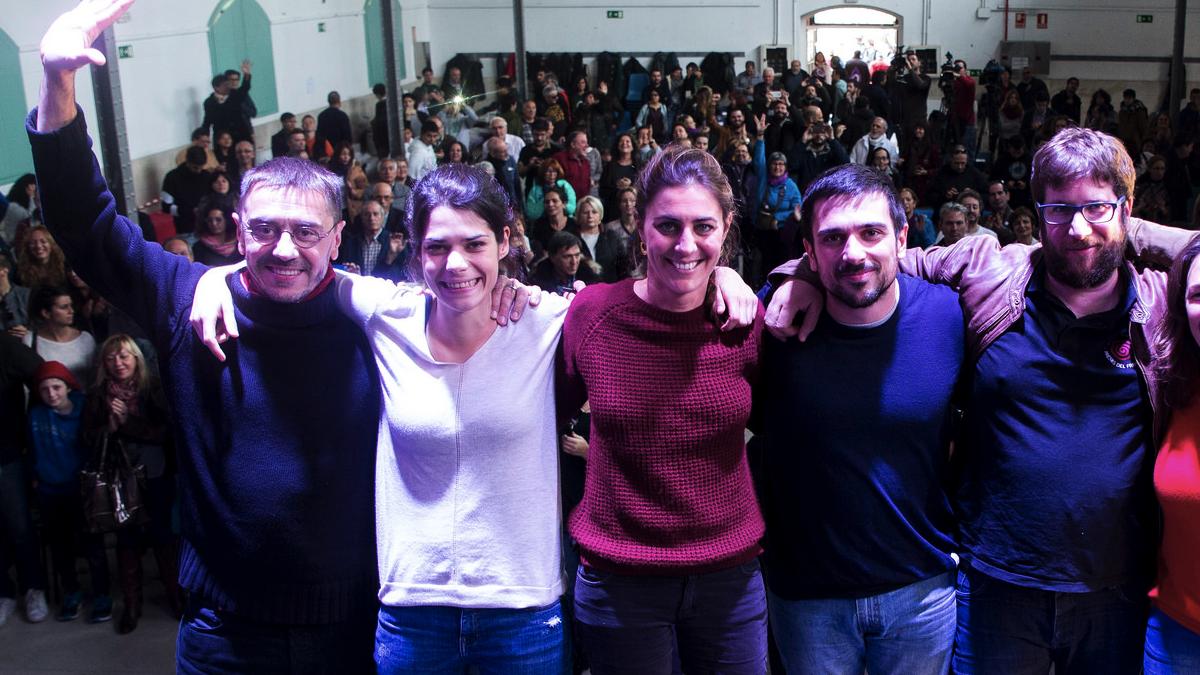 Juan Carlos Monedero,  Isabel Serra, Lorena Ruiz-Huerta, Ramón Espinar y Miguel Urbán. (Foto: JP)