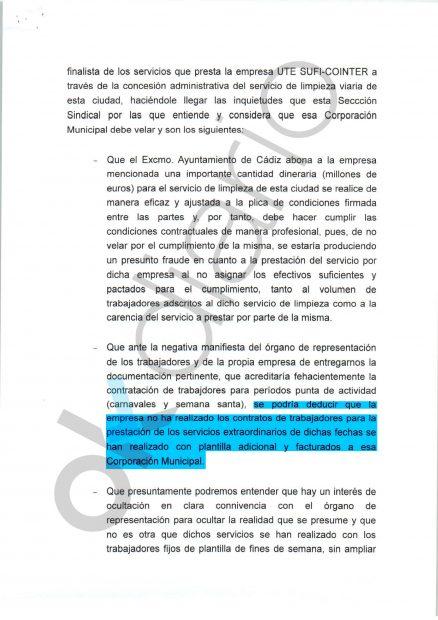 Denuncia presentada en la Fiscalía Provincial de Cádiz.