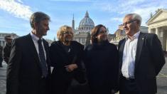 Los alcaldes de Zaragoza, Madrid, Barcelona y Valencia en Ciudad del Vaticano. (Foto: TW)
