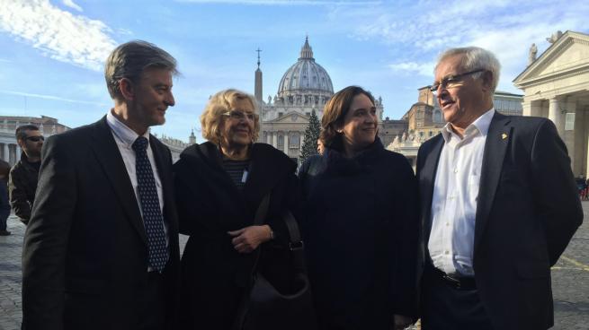 Resultado de imagen de cumbre de alcaldes en roma con el papa
