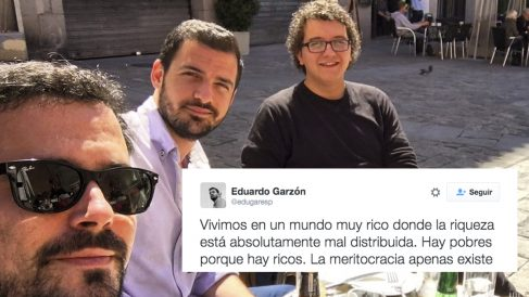 Alberto Garzón, Eduardo Garzón y el mejor amigo de Pablo Iglesias, Facu Díaz.