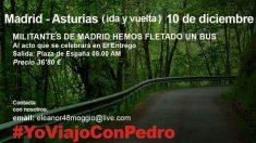 Cartel de militantes que promocionan viajes para apoyar a Sánchez. (Foto: Facebook)