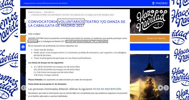 Carmena modifica la convocatoria para actores voluntarios en la cabalgata que denunció OKDIARIO