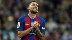 Paco Alcácer se lamenta tras fallar una ocasión con el Barça.