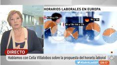 Celia Villalobos durante su intervención en Espejo Público de Antena 3. Foto: A3