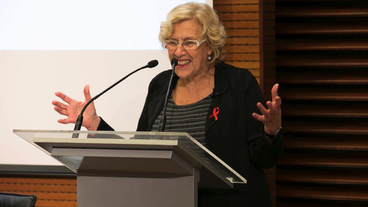 La alcaldesa Manuela Carmena en una intervención pública. (Foto: Madrid)