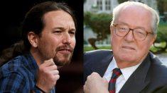 Los líderes de Podemos, Pablo Iglesias, y el Frente Nacional, Jean-Marie Le Pen.