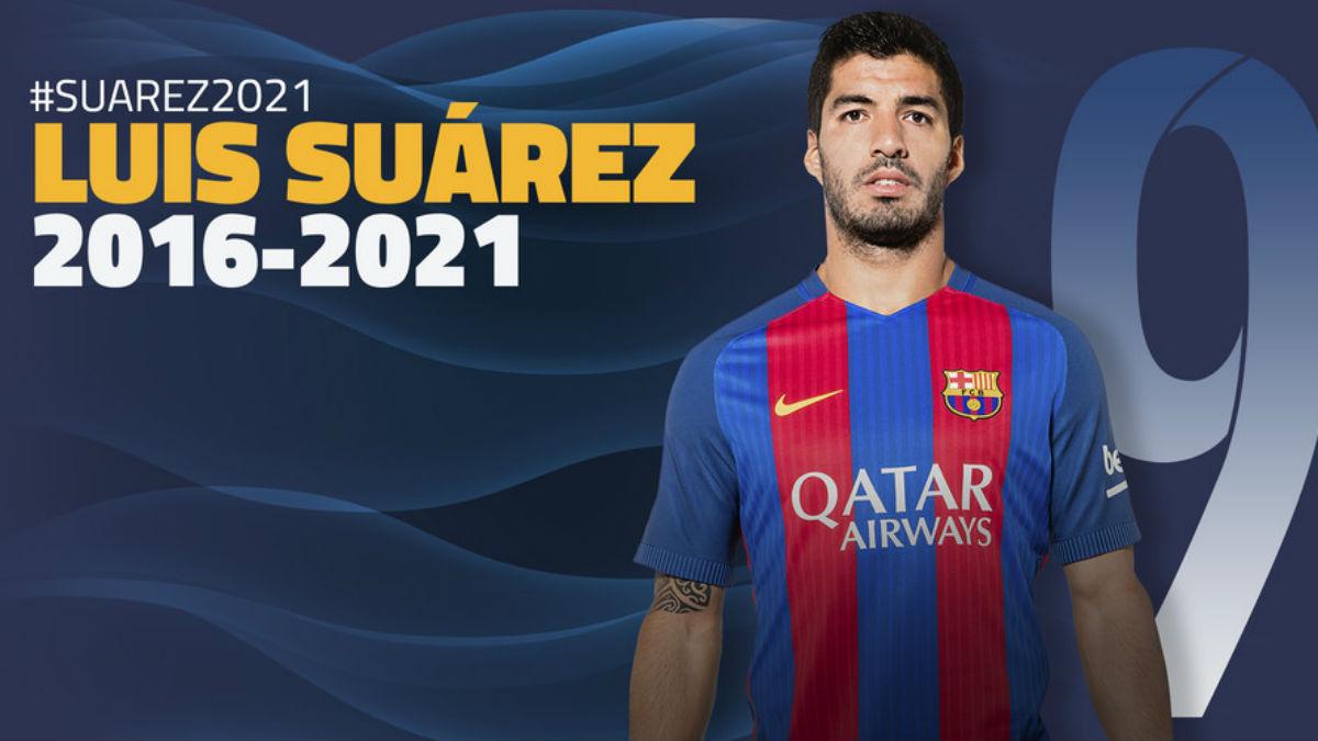 Luis Suárez firma hasta 2021.