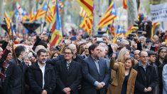 Artur Mas, Oriol Junqueras y Carme Forcadell, entre otros dirigentes independentistas. (Foto: EFE)