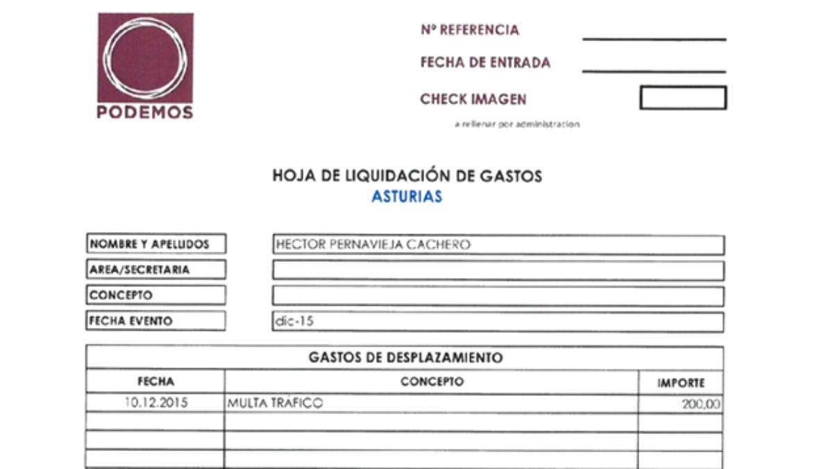 Justificante de la multa de tráfico pagada por Podemos a su diputado Héctor Piernavieja.