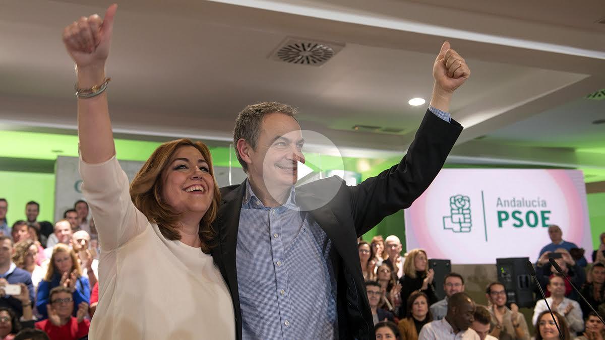 Susana Díaz y Zapatero este viernes en un acto en Jaén (Foto: Efe).