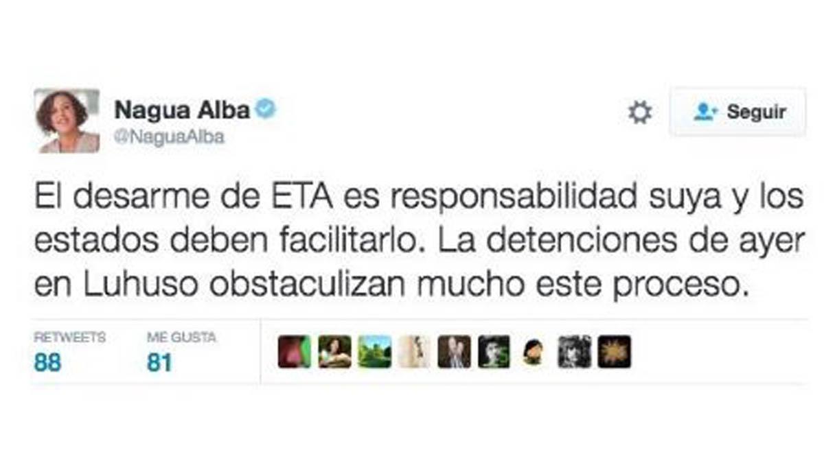 El tuit de la secretaria general de Podemos en el País Vasco.