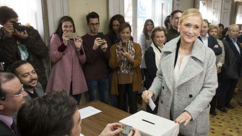 Cristina Cifuentes votando a los compromisarios del PP de Madrid (PP de Madrid)