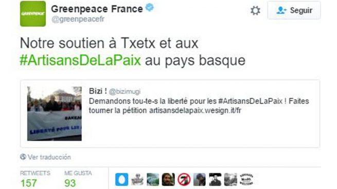 Greenpeace Francia exige la liberación de los etarras detenidos el pasado sábado por la Guardia Civil