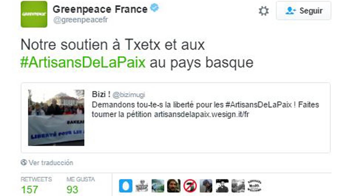 Greenpeace Francia exige la liberación del etarra detenido.