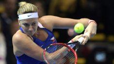 La tenista checa Petra Kvitova en un partido de Copa Federación. (AFP)