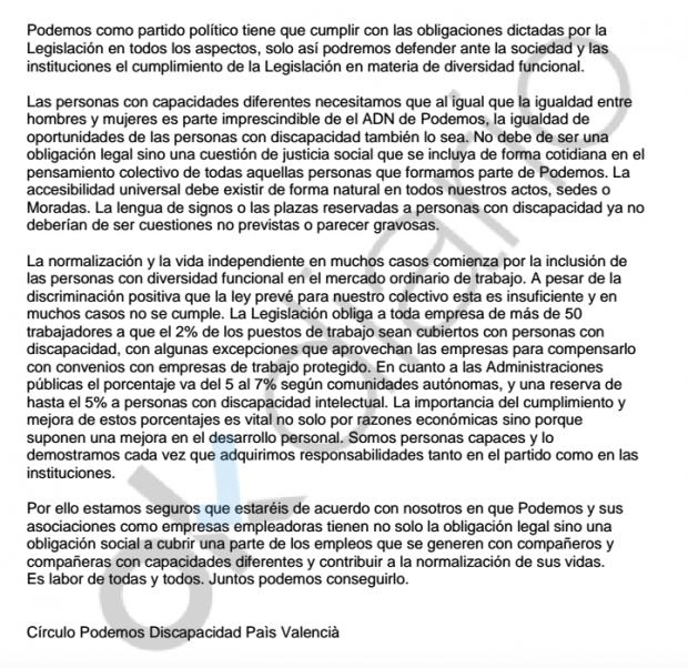 Quejas en las bases de Podemos por no cumplir el porcentaje legal de contratación de discapacitados