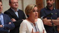 Puri Causapié, portavoz del PSOE en Madrid, junto a concejales de PP, Ciudadanos y Ahora Madrid. (Foto: Madrid)