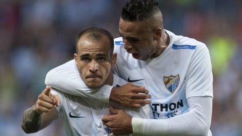 Sandro celebra un tanto con el Málaga