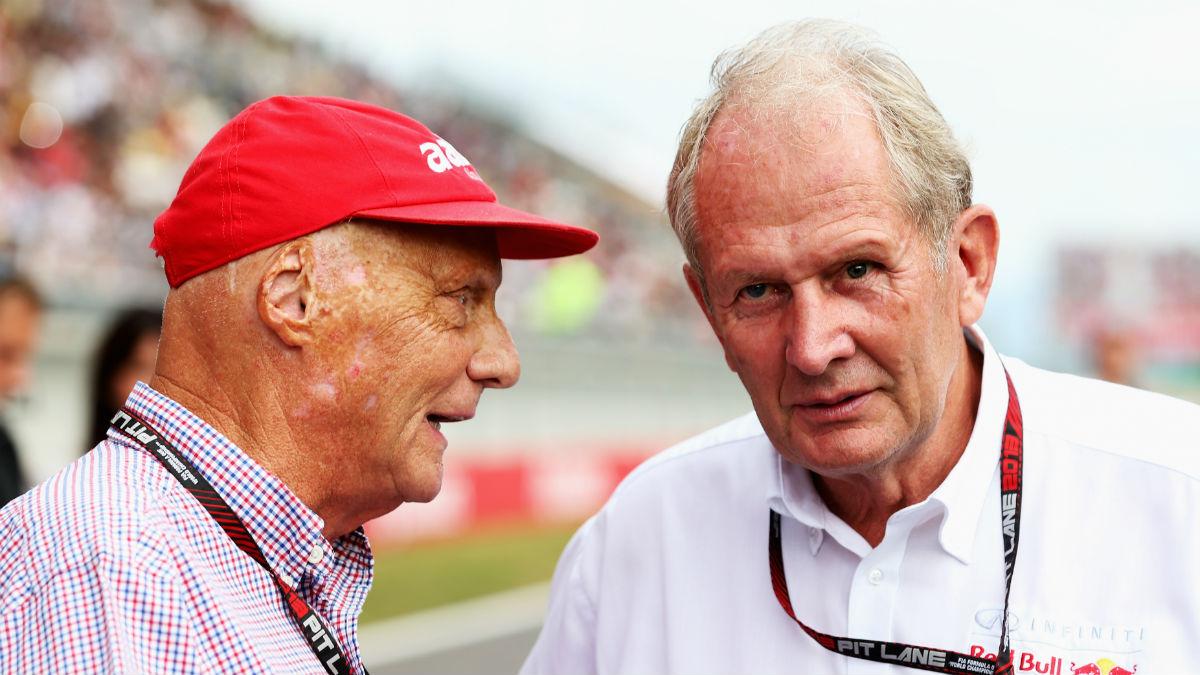 Niki Lauda y Helmut Marko han protagonizado el último enfrentamiento entre Mercedes y Red Bull en un conocido programa de una cadena austriaca. (Getty)