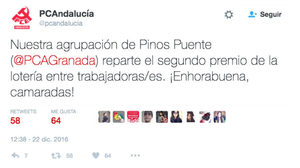 La Agrupación Local del Partido Comunista de Pinos Puente (Granada) ha repartido este jueves más de 56 millones de euros (Foto: Twitter)