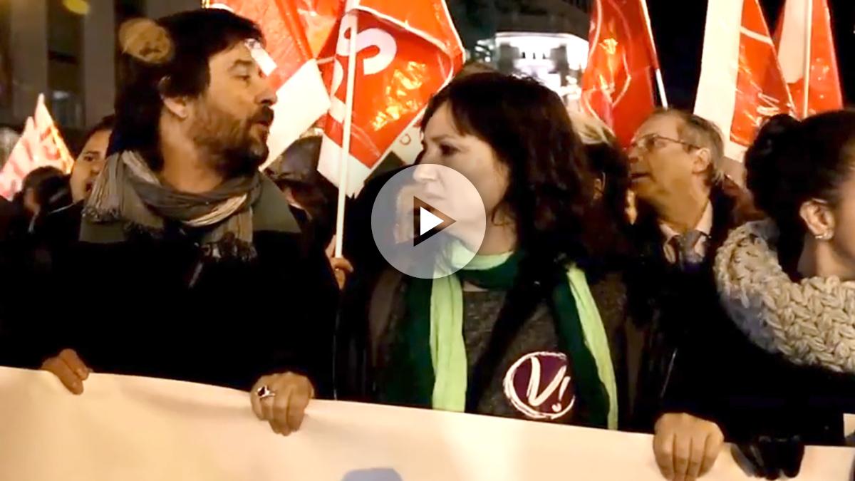 El diputado de Podemos, Rafa Mayoral, en un momento de la manifestación, el pasado miércoles en Madrid.